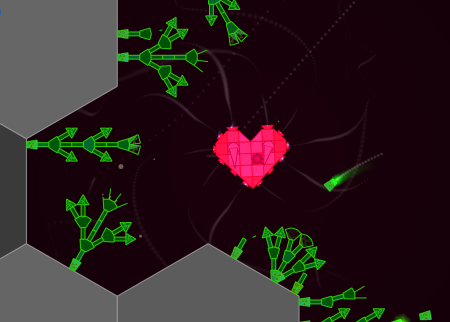 A lonely heart pauses near some space plants